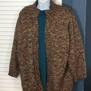 Cozy browns and teal green cardigan